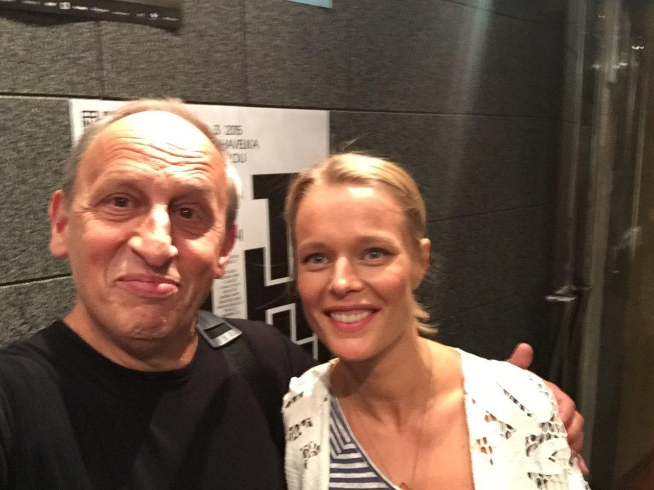 Helena Houdová s Janem Krausem po natáčení pořadu.